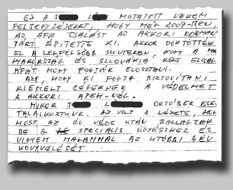 Részlet Dömény Zoltán kézzel írott feljegyzéseiből